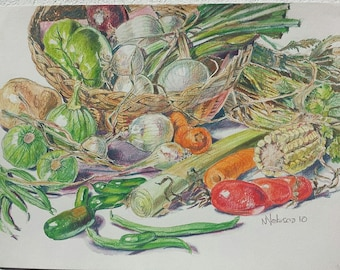 STILL LIFE WATERCOLOR painting. Vegetables still life painting. Watercolor painting. Modern painting.