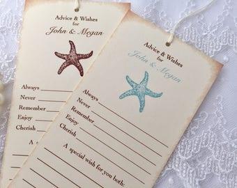 Starfish Wish Tree Tags, Beach Wish Tree Tags, Beach Wedding Wish Tags, Set of 10