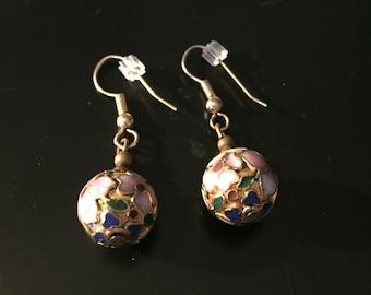 Vintage Cloisonné Pierced Warrings 1970s, Vintage Warrings, Vintage Jewelry