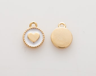 Heart White Epoxy Pendant , 6mm Round Pendant, Polished Gold Plated - 2 Pieces [AA0187-PGWH]