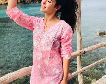 Ibiza tunic in muslin cotton with hand embroidery
