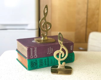 Musical Bookends, Musician Gift, Brass Book Ends Home Decor, Treble Clef Musical Notes Mid Century Brass