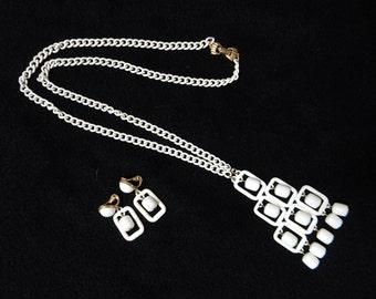 Monet Enamel Chain Necklace and Earrings