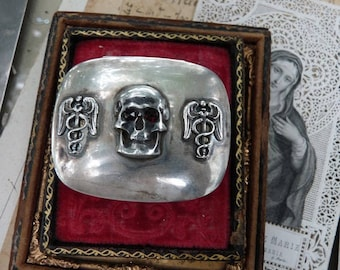 SALE:  Antique Victorian Memento Mori Skull & Caduceus Pill Snuff Box, Alchemical Talisman, offered by RusticGypsyCreations