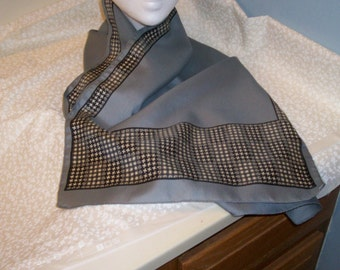 Vintage Rectangle Grey Black White Polyester Womens Scarf Geometric Pattern