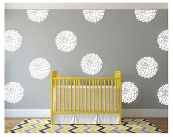 Wall Flower Decal - Vinyl wall decal flower blooms -White wall decal pattern flowers nursery decals- Girls Wall Vinyl Decal