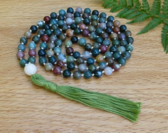 Hand Knotted Indian Agate 108 Bead Yoga Mala Necklace, Green and Brown Meditation Prayer Beads, Boho Yoga Jewellery, Silk Cord Cotton Tassel