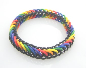 ON SALE True Colors Rainbow Pride Chainmaille Stretch Bracelet