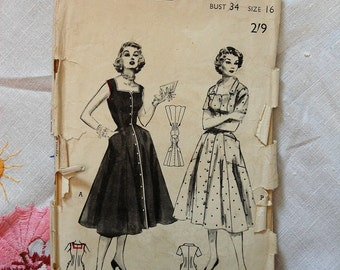Vintage dress pattern, Butterick 6548, size bust 34 inches, 1950s