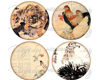 ASIAN FAUNA  (3) Digital Collage Sheet - Circles 2.5 inch - 63mm - Pocket Mirror  -  Buy 3 Get 1 Free - Instant Download
