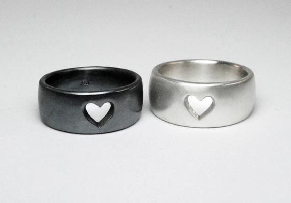 Wide Sterling Silver Heart Ring-Ready to Ship.