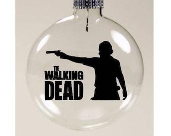The Walking Dead Rick Zombie Christmas Ornament Glass Disc Holiday Black Friday Horror Merch Massacre