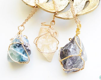 Wrapped natural gemstone pendant necklace (Amethyst, Citrine, Fluorite)