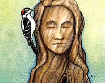 Woodpecker (Bob) - Original Framed Watercolor