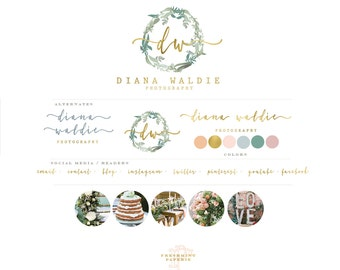 Premade logo - watercolor logo - laurel wreath logo - calligraphy logo - watercolor logo - floral logo - freshmint paperie