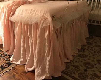 Extra Long Gathered  Washed Linen Bedspread With Tulle Ruffle Detail-Pair of Pillowcase Shams with Matching Tulle Ruffles