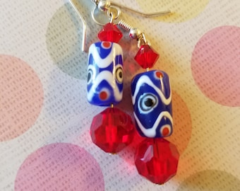 One of a kind blue, white, and red dangle earrings