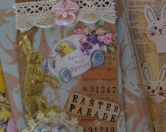 Vintage Easter Bunnies Antique Kitsch and Rare 1940s Antique thin cardboard Rabbits Diecuts