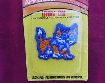 Vintage Blue and Orange Kitty Cat Patch