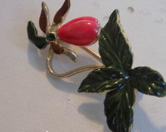 Vintage brooch, enamel Lady slipper flower brooch, floral brooch, figural brooch, vintage jewelry
