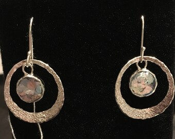 Ancient Roman Glass (500-1000AD) Sterling Silver Earrings