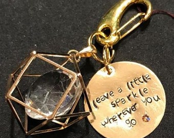 Leave a Little Sparkle - Hand Stamped Keychain