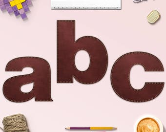 Lower Case Stitched Leather Alphabet, Leather Alphabet Clipart, PNG Leather Font, Perfect For Scrapbooking, Invitation And More, BUY5FOR8