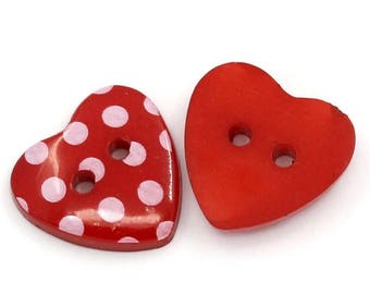 30 red polka dot heart buttons , pack of 30 buttons, heart button 15mm , polka dot button, sewing button, red buttons, Valentine's buttons