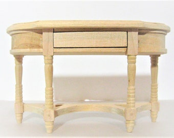 Dollhouse  Miniature Unfinished Wood Hall or Side Table with Opening Drawer 1:12 Scale
