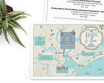 Custom Wedding MAP, Any Location Available-Charleston South Carolina Map-Destination Wedding, City Map- Wedding Map and itinerary timeline