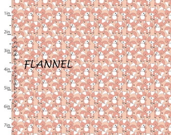 Fox Flannel Fabric, Woodland Animal Quilt Flannel, 3 Wishes Playful Cuties 12969 Coral, Woodland Baby Flannel, Cotton