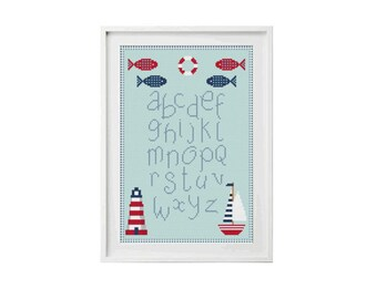 Cross Stitch Sampler Pattern PDF ** instant Download ** - Nautical Cross Stitch Pattern, Seaside Cross Stitch Pattern