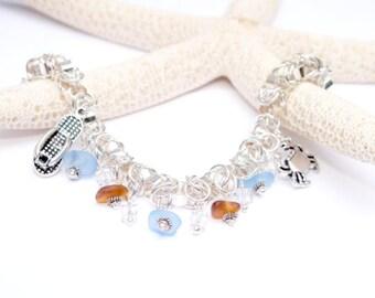 Silver Sea Glass Bracelet, Sea Glass Jewelry, Lake Erie Beach Jewelry, Beach Bracelet, Beach Gift, 7 3/4 inch Bracelet