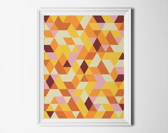 Modern wall art orange Pattern print Instant download Home decor art Print abstract Home interiors pictures Download poster geometric 8 x 10