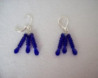 Cobalt Blue Triple Dangle Earrings