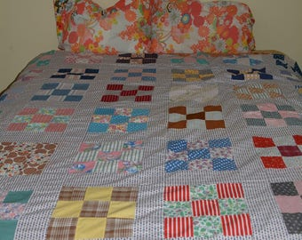 Vintage Feedsack quilt 30s quilt 40s quilt top quilting fabric 9 patch quilt blocks to repurpose As Is farmhouse decor