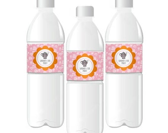 Tea Party Water Bottle Labels-Personalized Birthday Water Labels-Bridal Shower Favor Labels-Custom Water Bottle Labels (set of 24)