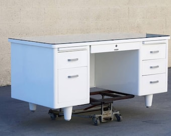Classic McDowell Craig Tanker Desk Refinished in Gloss White