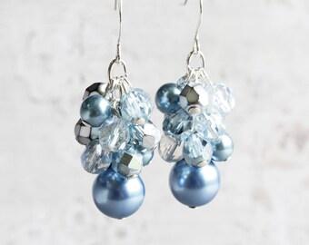 Steel Blue Earrings, Cluster Earrings, Blue Dangle Earrings on Silver Hooks, Blue Bridesmaid Jewelry
