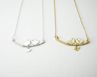 Birds on a Branch Necklace, Kissing Birds Necklace, Love Birds Necklace, Simple Necklace,Delicate Necklace, Mothers Necklace,