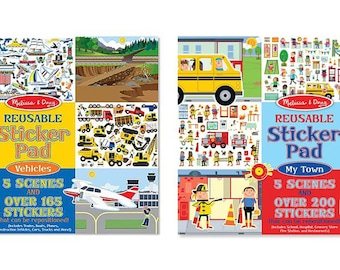 Reusable Sticker Pads With Stickers - 2 Styles My Town or Vehicles 911-419  fnt
