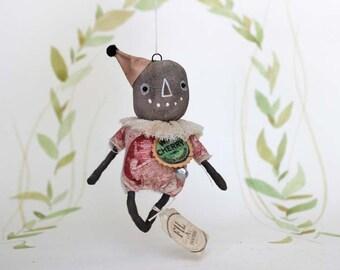 Citrouille épouvantail pour nostalgique primitive folk art pendentif ornement