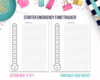 Letter: Starter Emergency Fund Tracker • Budget Binder Printable Page Insert for BIG Happy Planner® & Letter sized Disc/Ring Bound Planners