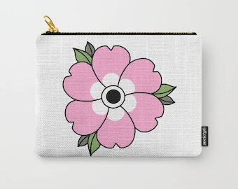 Flower Carry All Pouch - Make-up Bag- Pouch- Toiletry Bag - Change Purse - Organizing Bag - Made to Order