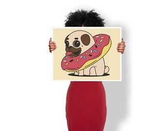 Pug doughnut cute dog - Art Print / Poster / Cool Art - Any Size