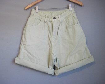 Green High Waisted Jean Shorts Vintage Denim Small Medium 27