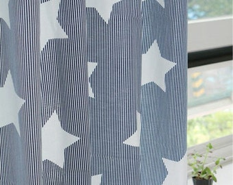Stars on Navy Stripe Cotton Fabric - By the Yard 89046
