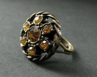 Autumn Amber Ring. Amber Rhinestone Ring. Button Ring. Bronze Ring. Adjustable Ring. Handmade Ring. Handmade Jewelry.