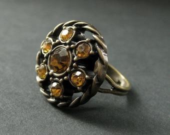 Herbst-Bernstein-Ring. Bernstein Strass Ring. Knopf-Ring. Bronze-Ring. Verstellbarer Ring. Handgefertigter Ring. Handgemachten Schmuck.