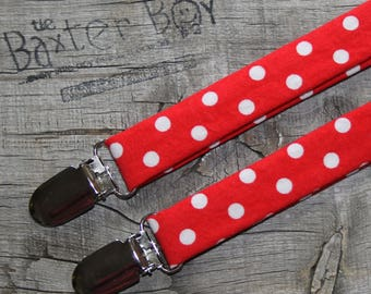 Ready-to-ship --- Size SMALL Bright red polka dot little boy suspenders - ring bearer, photo prop, wedding